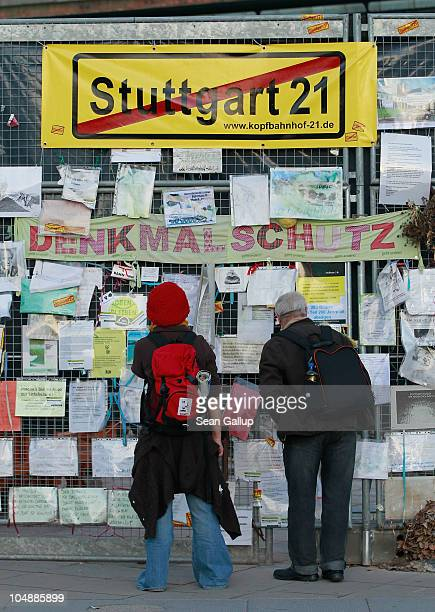 People look at messages left by protesters outside Hauptbahnhof train station on October 6 2010 in Stuttgart Germany Approximately 300 trees in...
