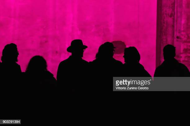 People look at the Concept Korea Beyond Closet e Bmuet show during the 93 Pitti Immagine Uomo at Fortezza Da Basso on January 10 2018 in Florence...