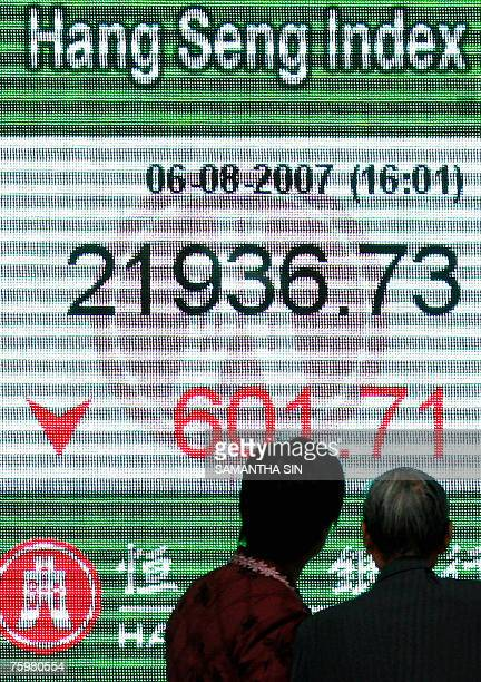 People look at the Hang Seng Index shown on a giant digital screen at a local bank's window in Hong Kong 06 August 2007 The Hang Seng Index closed...