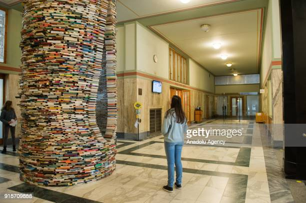 People look at the Idiom installation, created by Slovakian artist, Matej Kren at Prague Library in Prague, Czech Republic on February 08, 2018....