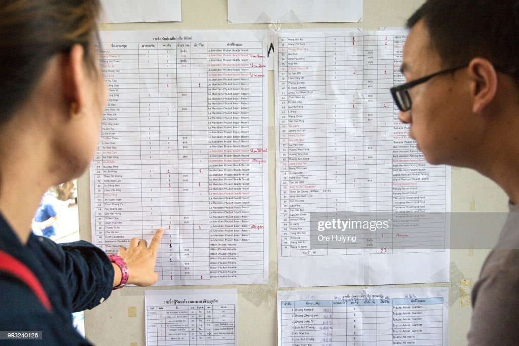 People look at the list containing the names of all passengers onboard a capsized tourist boat for updates on rescue search at the Vachira Phuket Hospital on July 7, 2018 in Phuket, Thailand. At least 33 people drowned and another 23 are missing after a tourist boat carrying mostly Chinese passengers capsized off the holiday island of Phuket in southern Thailand. The boat carried 105 people, including 93 tourists, 11 crew and one tour guide, and went down during severe weather on Thursday evening as authorities announced all of the dead are Chinese nationals.