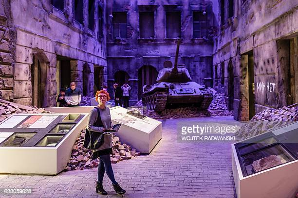 People look at the permanent exhibition of Museum of the Second World War in Gdansk Poland on January 29 2017 during the open days on January 29 2017...