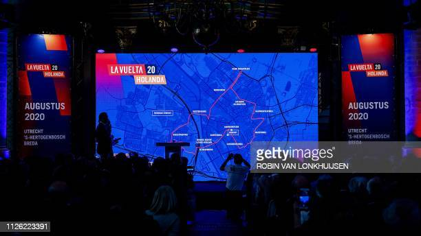 People look at the publication of the Dutch routes of the Tour of Spain in 2020, in Breda, the Netherlands, on February 20, 2019. - Noord-Brabant and...