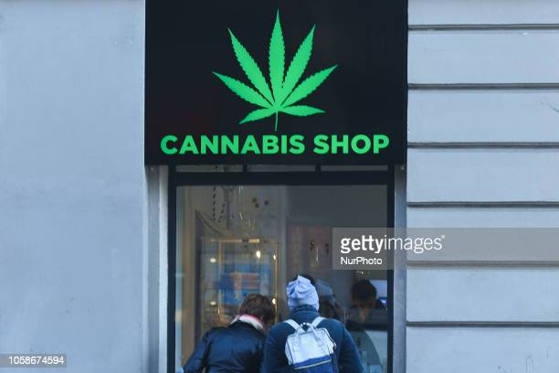 People look by the Dr Ziolko Cannabis Shop window a new shop opened in Krakow's city center On Wednesday November 6 in Krakow Poland