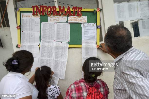 People look for information about their relatives victims of mudslides caused by heavy rains in Mocoa Putumayo department southern Colombia on April...
