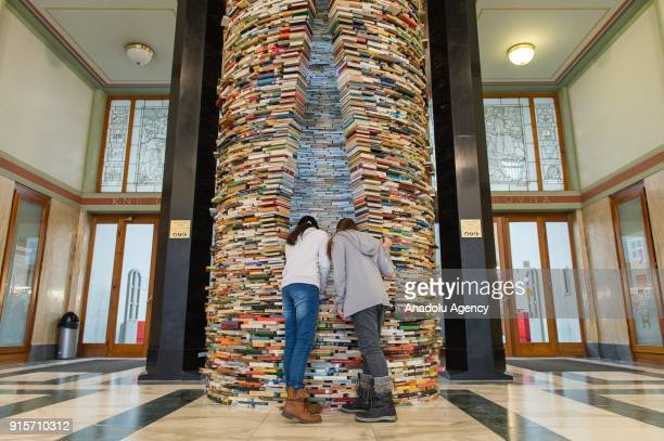 People look inside of Idiom installation, created by Slovakian artist, Matej Kren, is seen at Prague Library in Prague, Czech Republic on February...