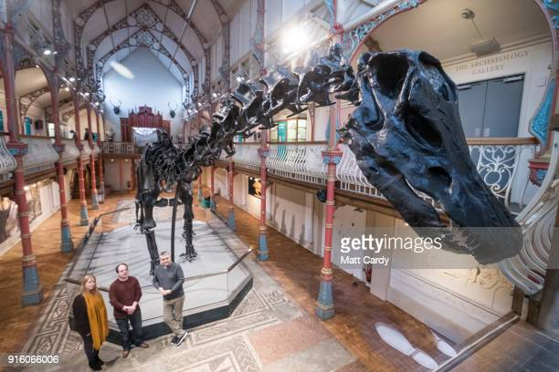 People look on at Dippy the dinosaur a diplodocus skeleton on loan from the Natural History Museum at it is unveiled at Dorset County Museum on the...