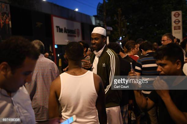People look on near Finsbury Park Mosque after an incident in which a van hit worshippers outside the building on June 19 2017 in London England...