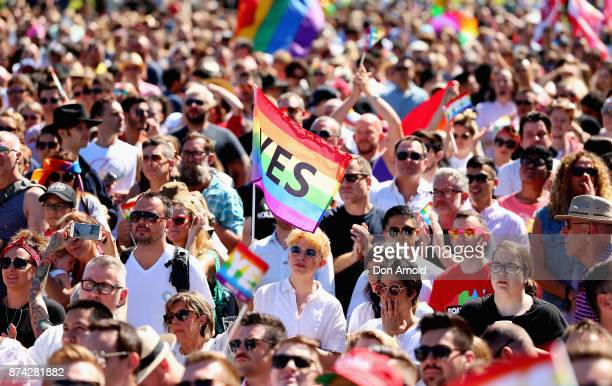 People look on nervously just prior to the result announcement on November 15 2017 in Sydney Australia Australians have voted for marriage laws to be...