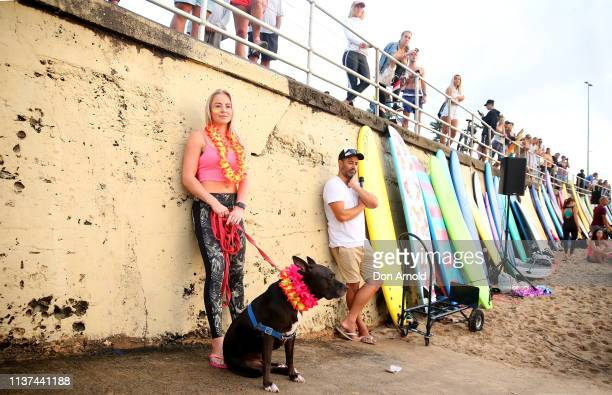 People look on on March 22 2019 in Sydney Australia Surfers gather to celebrate five years of OneWave a not for profit that encourages people to talk...