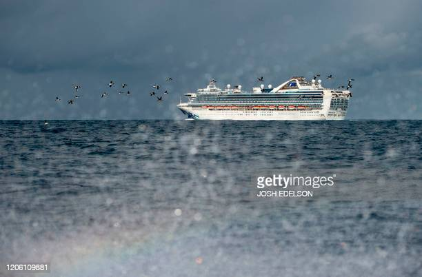 TOPSHOT People look out from aboard the Grand Princess cruise ship operated by Princess Cruises as it maintains a holding pattern about 25 miles off...