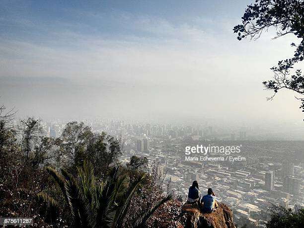 People Looking At Cityscape From San Cristobal Hill