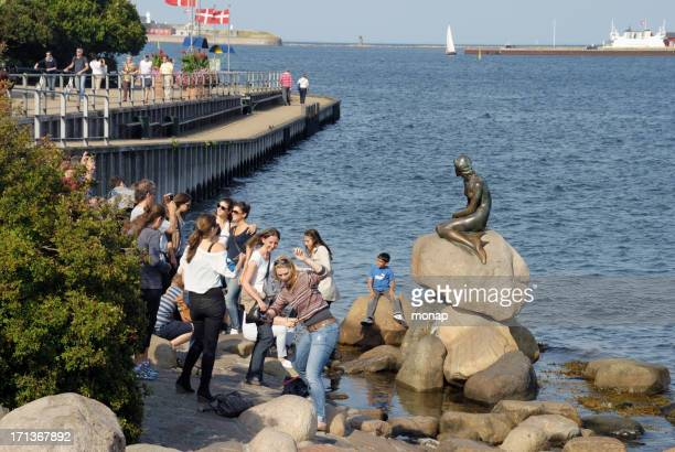 people looking at the little mermaid statue in copenhagen. - little mermaid stock photos and pictures