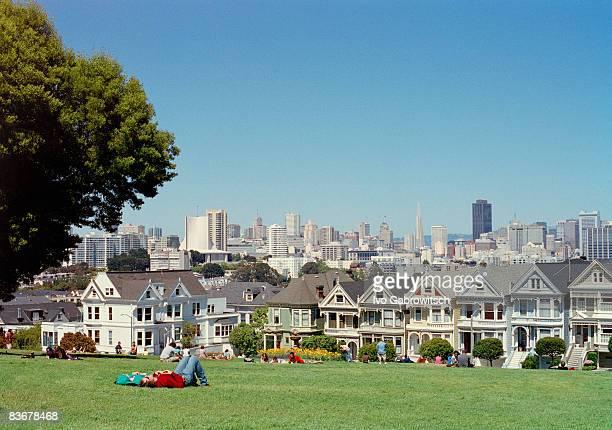 People lying on the grass, San Francisco, USA