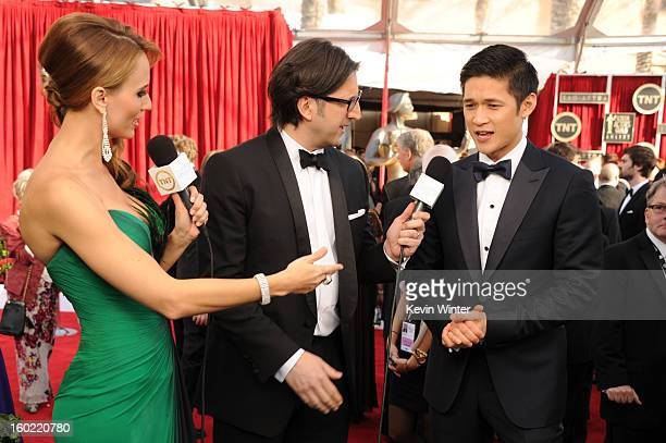 People Magazine Deputy Managing Editor Peter Castro and actor Harry Shum, Jr.attend the 19th Annual Screen Actors Guild Awards at The Shrine...