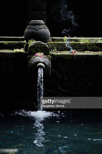 people make an offering at the holy spring water tirta empul hindu temple in bali,indonesia - lord bath stock pictures, royalty-free photos & images