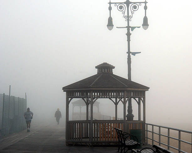 People make their way along the boardwalk on a foggy spring