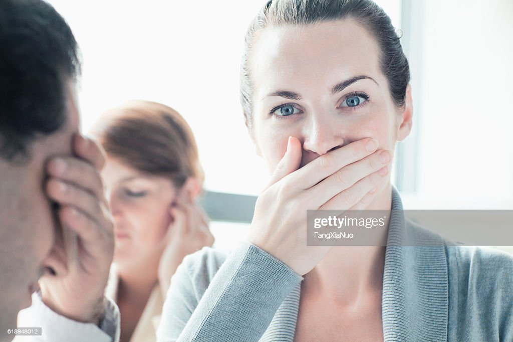People making hear, see, speak no evil gesture : Stock Photo