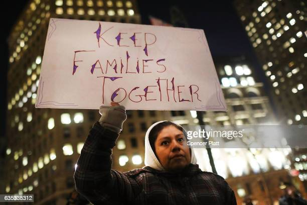 People many of whom are undocumented attend a Valentines Day rally organized by the New York Immigration Coalition called Love Fights Back on...