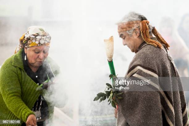 Children participate in the celebration of the Mapuche New Year in Osorno Chile on 23 June 2018 Children from an intercultural school celebrate the...