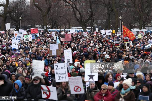 People march after gathering at Union Park to take part in 'March For Our Lives' protest against gun violence in the country on March 24 2018 in...
