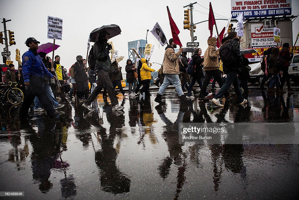 People march against police stop-and-frisk tactics on February 23, 2013 in New York City. The march, which consisted of a few hundred people, started in the Bronx borough of New York and marched into the Harlem neighborhood of Manhattan.