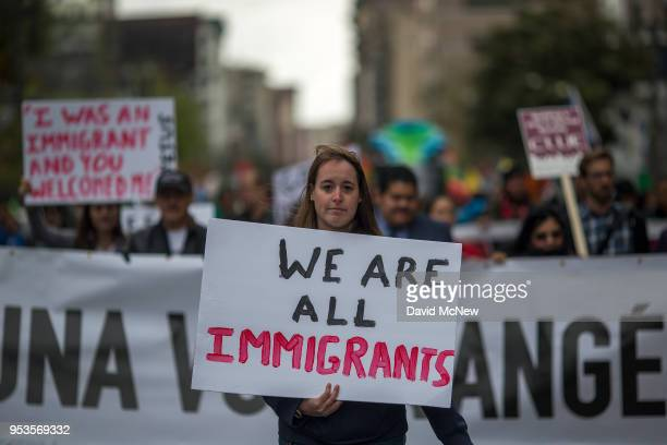 People march and rally on May Day on May 1 2018 in Los Angeles California Numerous May Day or International Workers Day marches are taking place in...