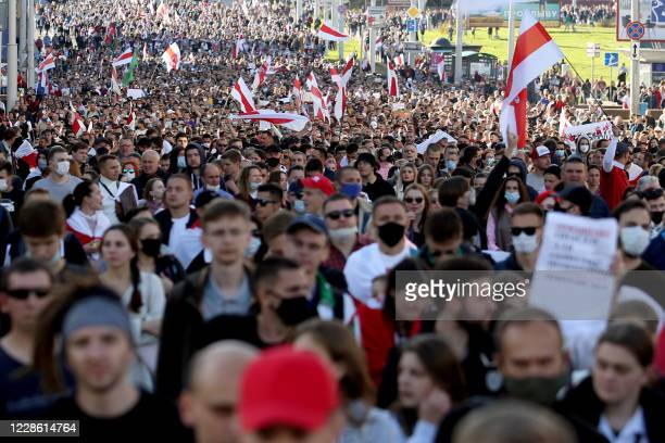 People march during a demonstration called by opposition movement for an end to the regime of the authoritarian leader in Minsk on September 20 2020...