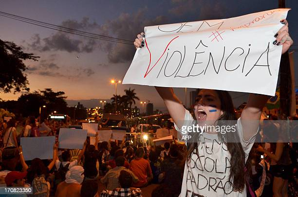 people march during a protest at the Antonio Carlos Avenue in the surroundings of the university on June 18 2013 in Belo Horizonte state of Minas...