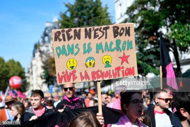 People march during a rally in Paris on September 21 held to protest French government's proposed reforms in labour laws Nothing is good in the...