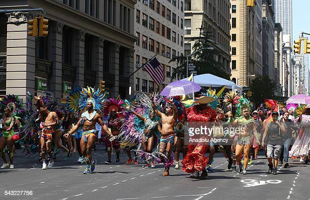 People march during the 46th annual New York City Gay Pride Parade in New York New York USA 26 June 2016