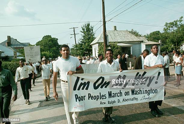 People march for the Poor People's Campaign, a civil rights group lead by Ralph Abernathy. Atlanta, 1968.