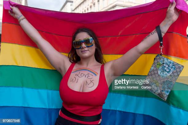 People march in a Gay Pride parade on June 9 2018 in Rome Italy