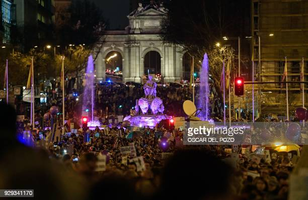 People march in Madrid on March 8 2018 during a one day strike to defend women's rights on International Women's Day Spain celebrated International...