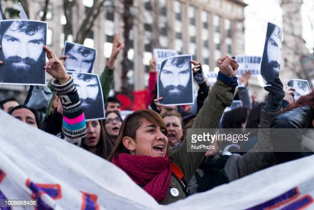 People march in memorial of Santiago Maldonado in Buenos Aires Argentina on August 1 2018 The family of Argentinian artist and activist Santiago...