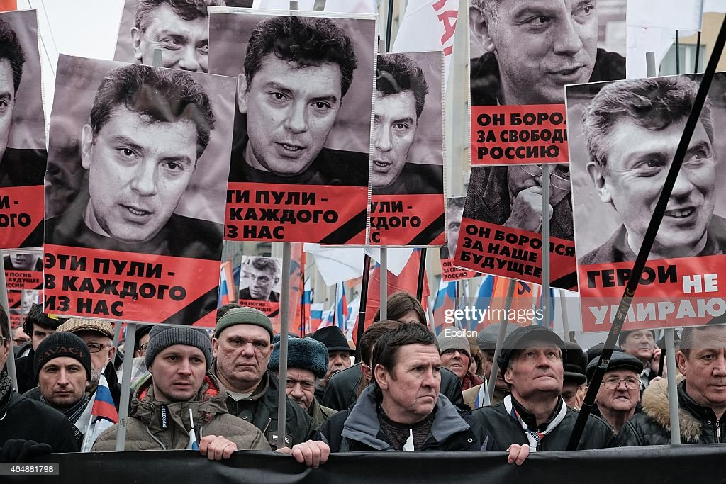 Mourners March After Russian Opposition Politician Boris Nemtsov Shot Dead : News Photo