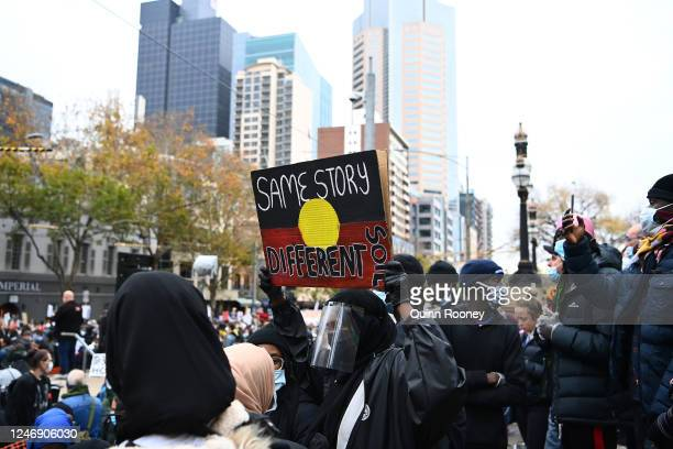 People march in solidarity with protests in the United States on June 06, 2020 in Melbourne, Australia. Events across Australia have been organised...