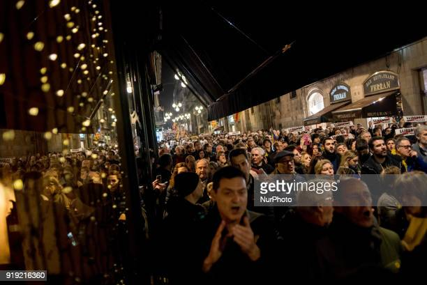 People march in support of imprisoned Catalan independentist leaders in Barcelona Catalonia Spain on 16 February 2018 Former regional ministers Oriol...
