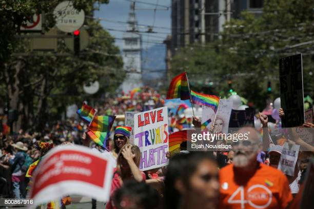 People march in the annual LGBTQI Pride Parade on Sunday June 25 2017 in San Francisco California The LGBT community descended on Market Street for...