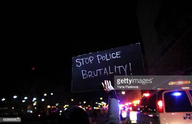 People march on the West Side Highway during a protest December 4 2014 in New York City Protests began after a Grand Jury decided to not indict...