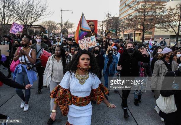 People march on the West Side Highway in a protest to mark the one year anniversary of Breonna Taylor's death on March 13, 2021 in New York City....