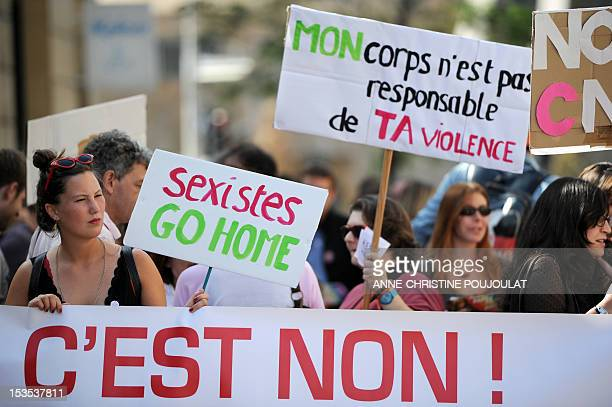 People march through the city taking part in a Slut Walk on October 6 2012 in AixenProvence southern France The Slut Walk is an idea that started in...