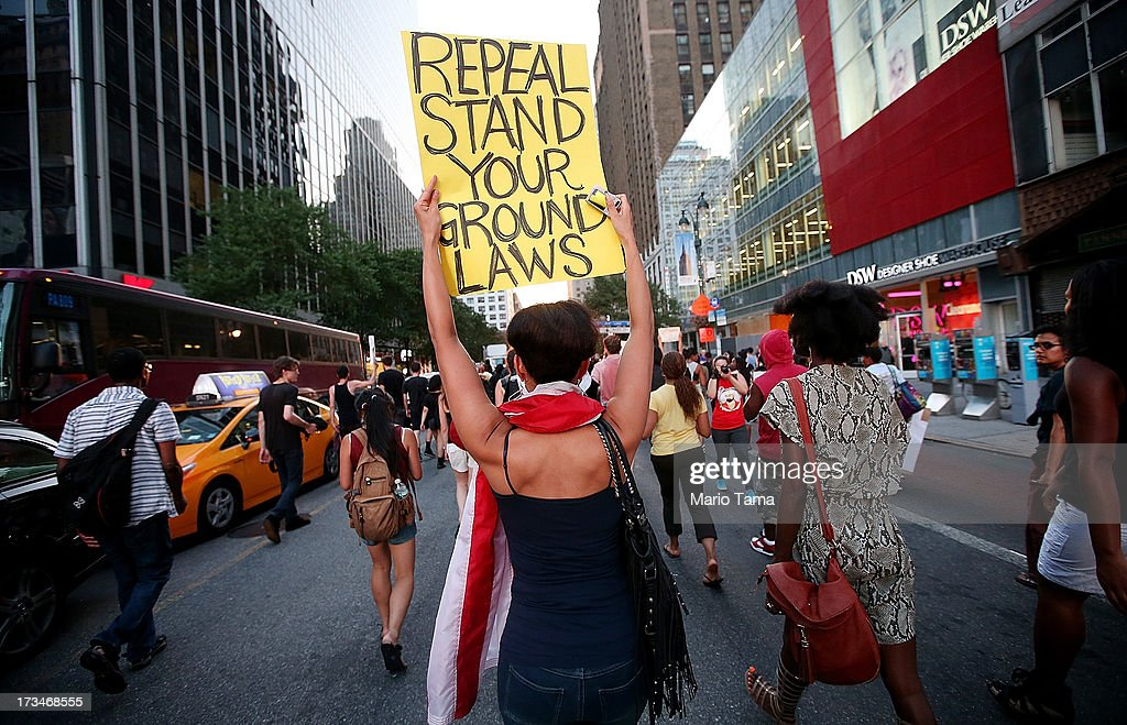 People march through the street while blocking traffic after a rally for Trayvon Martin in Union Square in Manhattan on July 14, 2013 in New York City. George Zimmerman was acquitted of all charges in the shooting death of Martin July 13 and many protesters questioned the verdict.