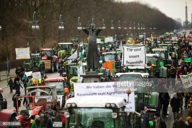 People march to demonstrate against the agroindustry on January 20 2018 in Berlin Germany Marchers whose protest is coinciding with the International...
