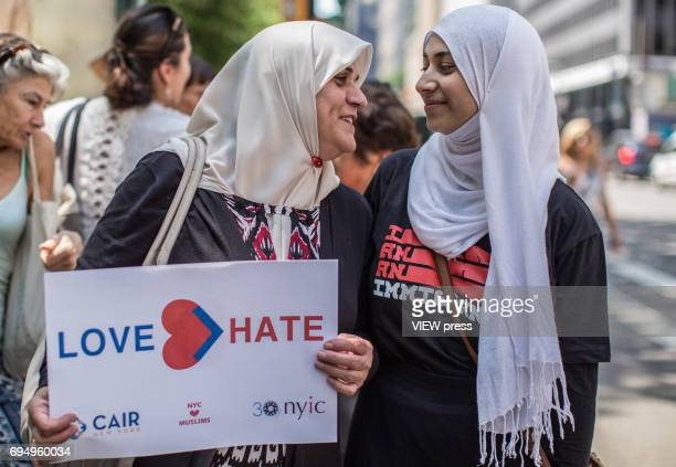 People march to support muslims rights as a counter protest to an antisharia law rally organized by ACT for America on June 10 2017 at City Hall in...