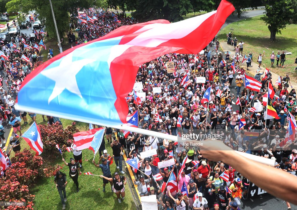 Puerto Ricans Celebrate The Resignation Of Puerto Rico Gov. Ricardo Rossello, After Days Of Large Protests : News Photo