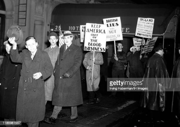 People marching in protest against the United States joining the war in Europe circa 1941 in New York, New York. The AFC was the pressure group...