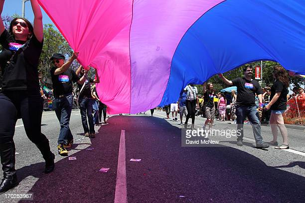 People marching with anBi a bisexual organization carry a bisexual flag in the 43rd LA Pride Parade on June 9 2013 in West Hollywood California More...