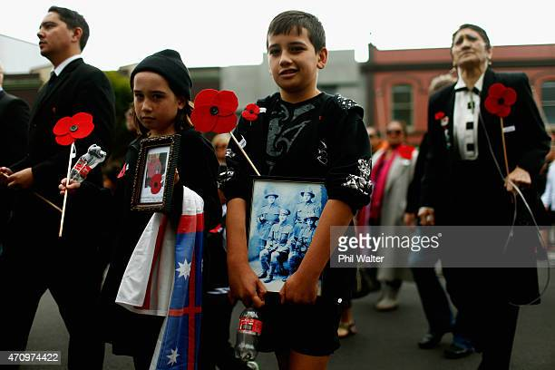 People match towards the Grey Lynn RSA during an ANZAC Day Service on April 25 2015 in Auckland New Zealand New Zealanders are celebrating the...