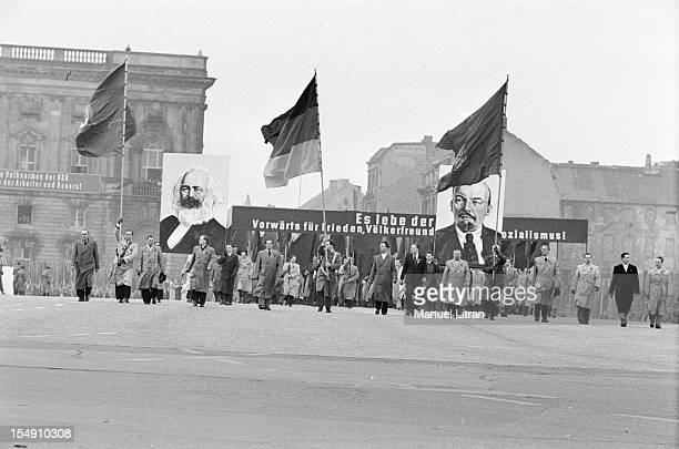 People May 1 parade in BerlinEaSt in the Democratic Republic of Germany on an almost deserted spot of Communist Party members marched under flags and...